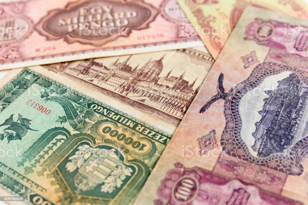 Old Hungarian banknotes stock photo