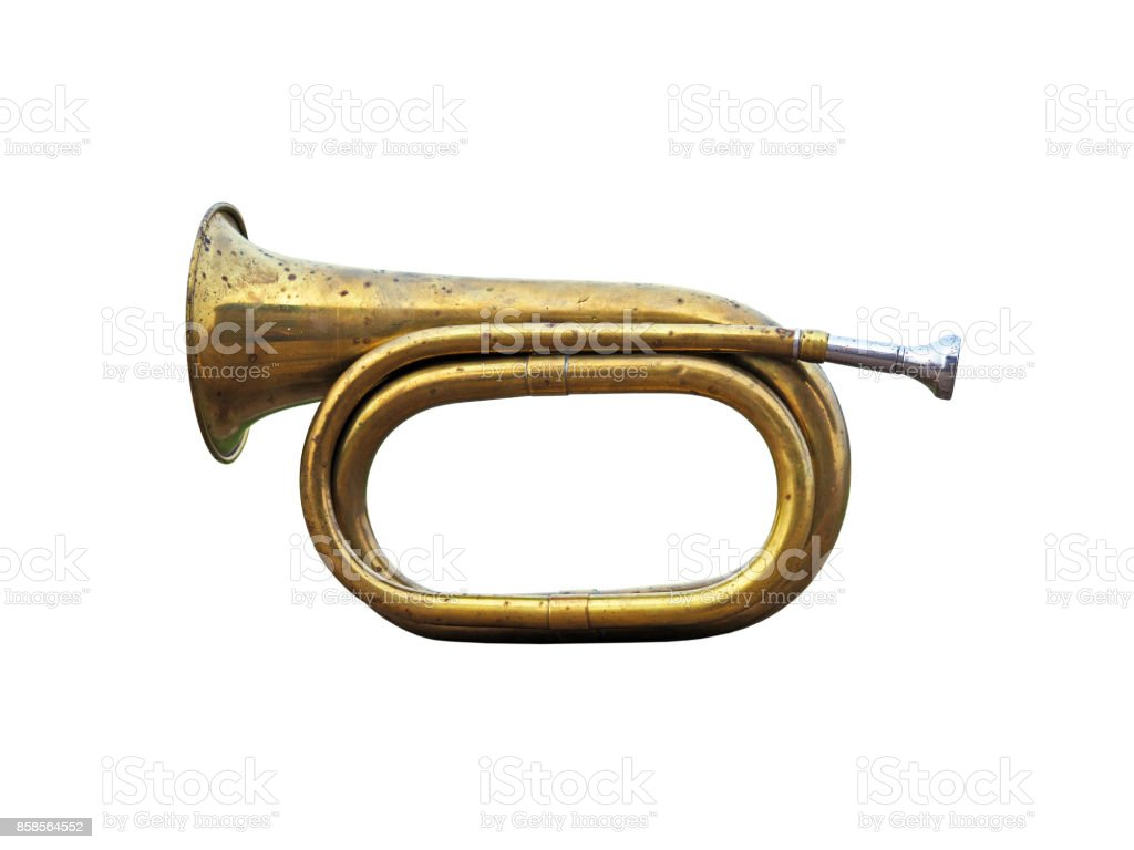 Old hunting horn. Trumpet musical metal instrument isolated over white background. stock photo