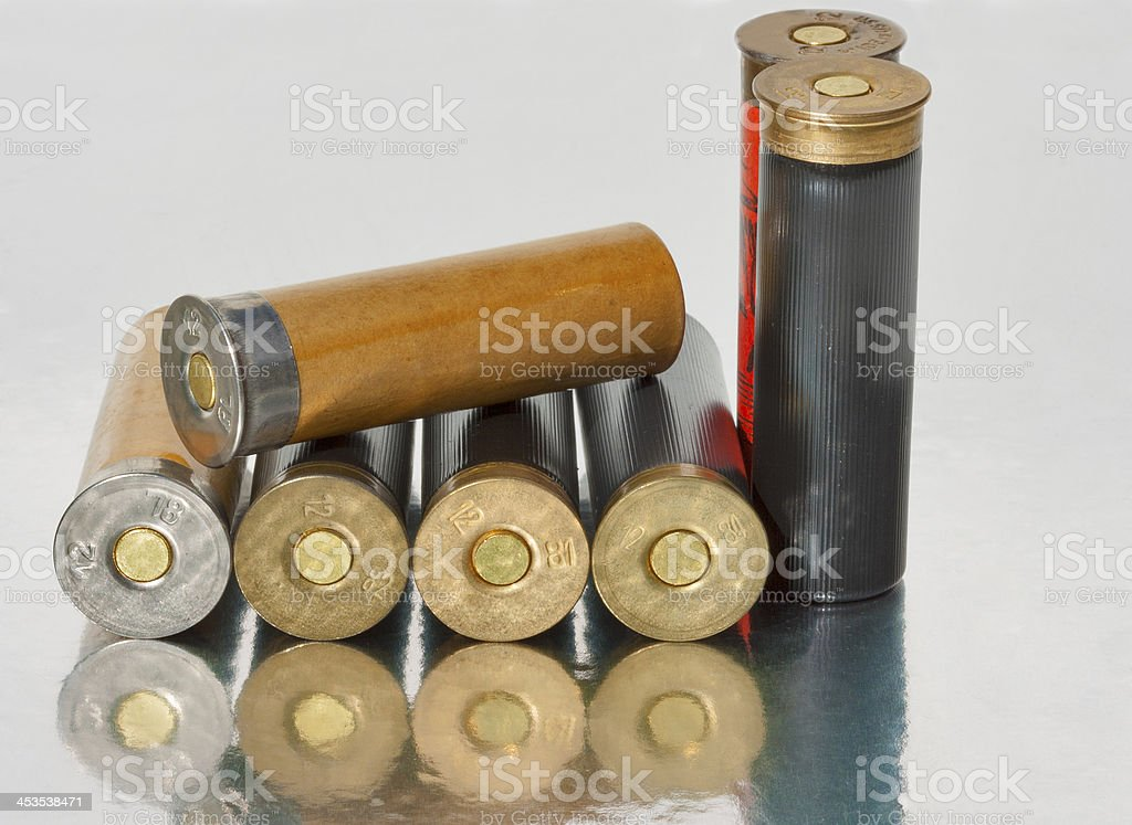 Old hunting shells stock photo
