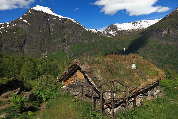 alte hütte farm in norwegen green mountains-geiranger - hobbit häuser stock-fotos und bilder
