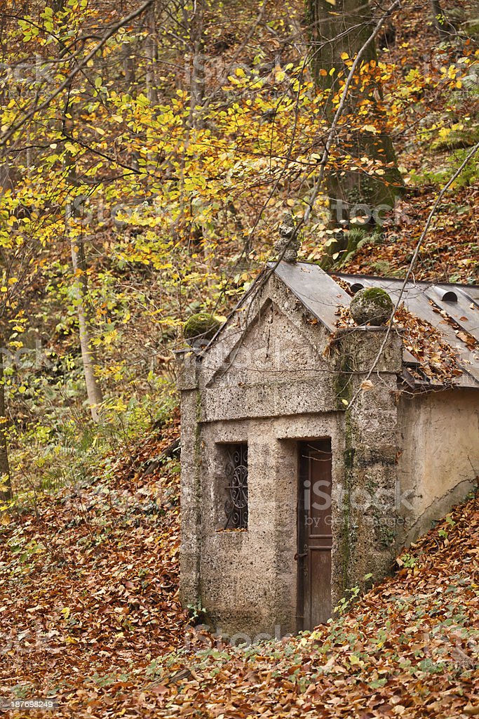 old hut in autumn forest royalty-free stock photo