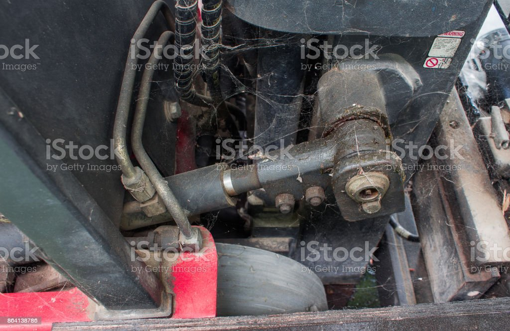 old hydraulic system of forklift truck royalty-free stock photo