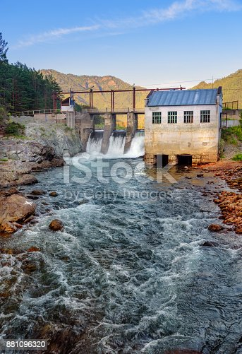 istock Old hydroelectric power station. Chemal, Altai Republic, Russia 881096320