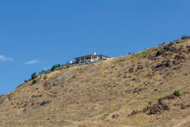 Old Idaho Penitentiary Site warden house on the hill stock photo