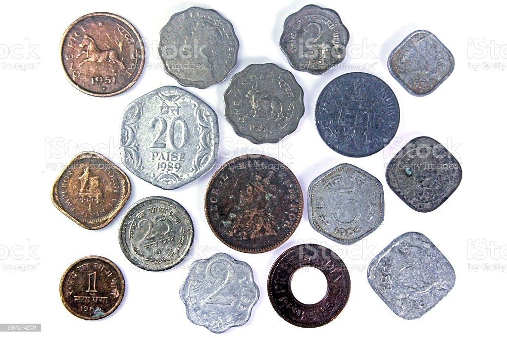 Alte Indische Münzen In Silber Messing Und Kupfer Stockfoto Und Mehr