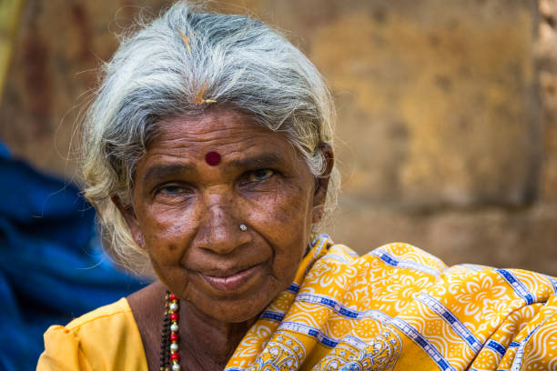 Old Indian grandmother stock photo