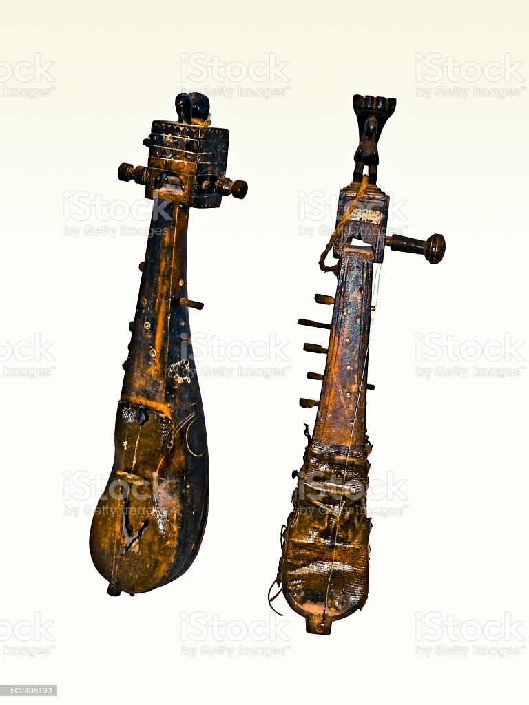 Old Indian music instruments stock photo