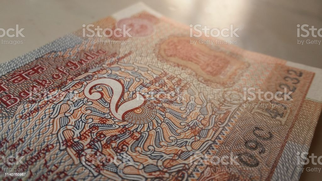 Old Indian Two Rupees Note Stock Photo & More Pictures of