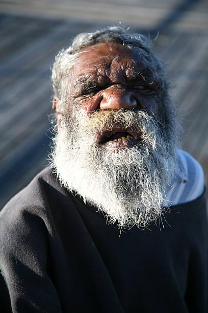 Old indigenous man stock photo