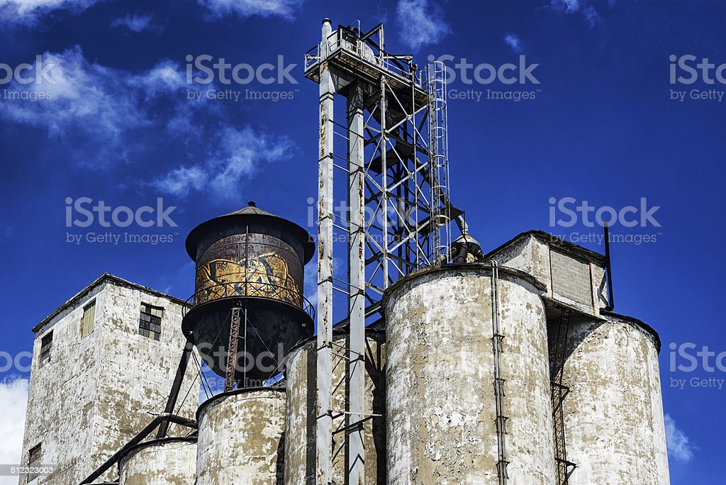 Old industial silos and water tank in Chicago stock photo