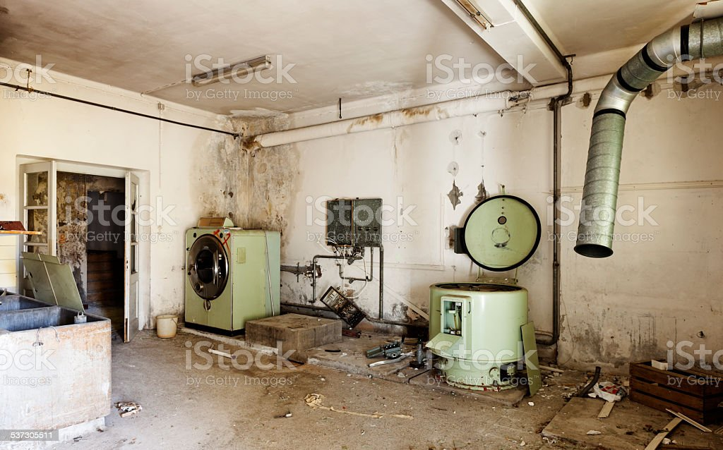 old industrial laundry stock photo