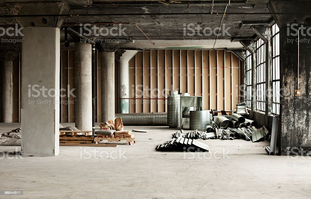 Old Industrial loft with construction material royalty-free stock photo