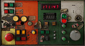 istock Old industrial switching button control panel 1337669146