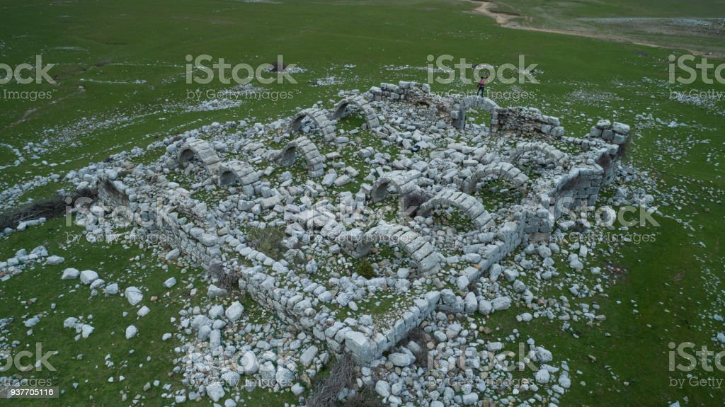 old inn ruins and historical texture stock photo