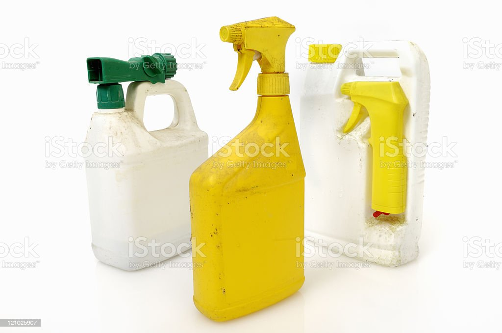 Old insecticide or pesticide containers stock photo