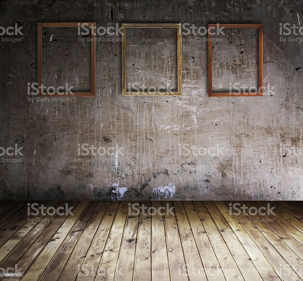 old interior with picture frames royalty-free stock photo