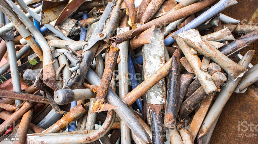 Old iron and metal for recycle in industry stock photo