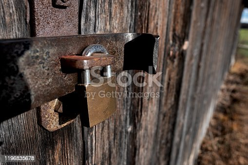 1178501072istockphoto old iron bolt with a modern lock 1196835678