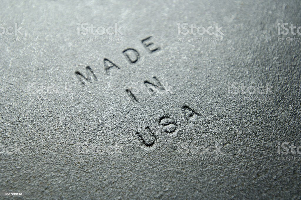 Old Iron Plate Embossed with MADE IN USA royalty-free stock photo