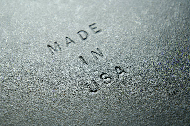 Old Iron Plate Embossed with MADE IN USA stock photo