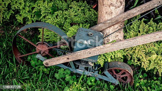 Old iron ploughing machinery