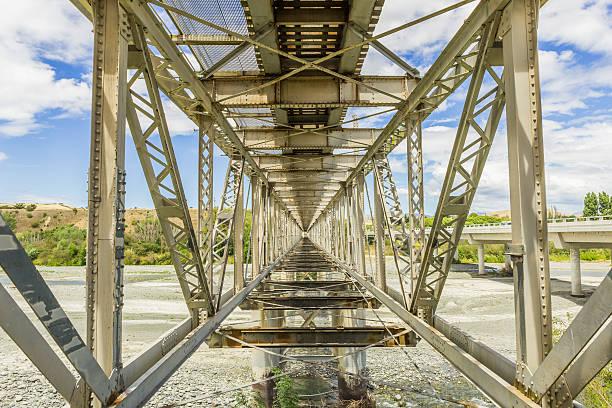 Old iron railway bridge stock photo