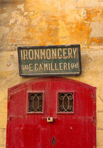 Valletta, Malta - 8th November 2018: E Camilleri Old Ironmongery Workshop exterior in valletta