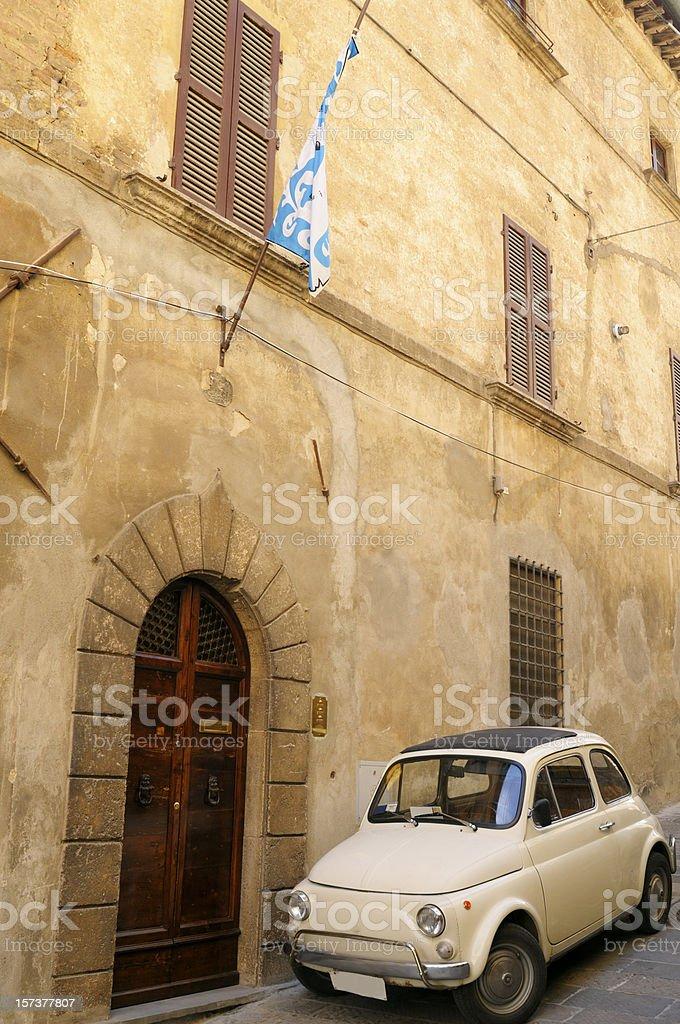 Old Italian Car Fiat 500 Urban Scene stock photo