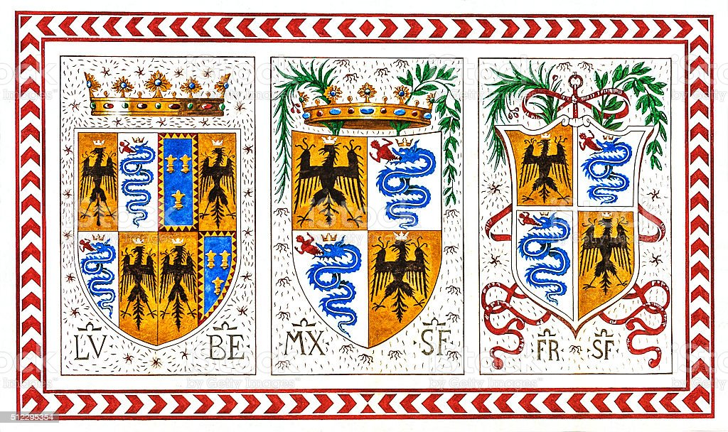 Old Italian coat of arms of the knight order, Milan stock photo