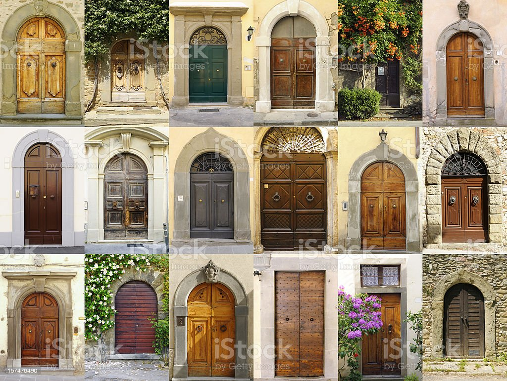Old Italian Doors Collection,Chianti Region royalty-free stock photo