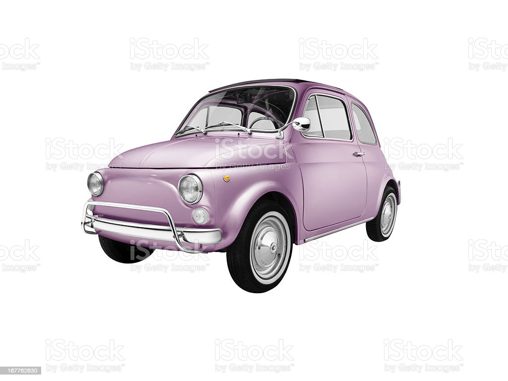 Old italian pink car (isolated with clipping path white background) stock photo