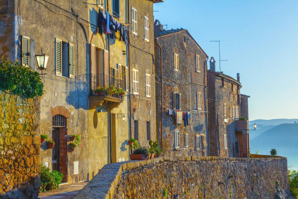 Old italian town in Tuscany (Pienza) The streets of Pienza pienza stock pictures, royalty-free photos & images