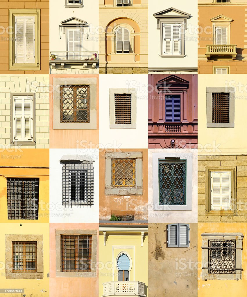 Old Italian Windows Collection royalty-free stock photo