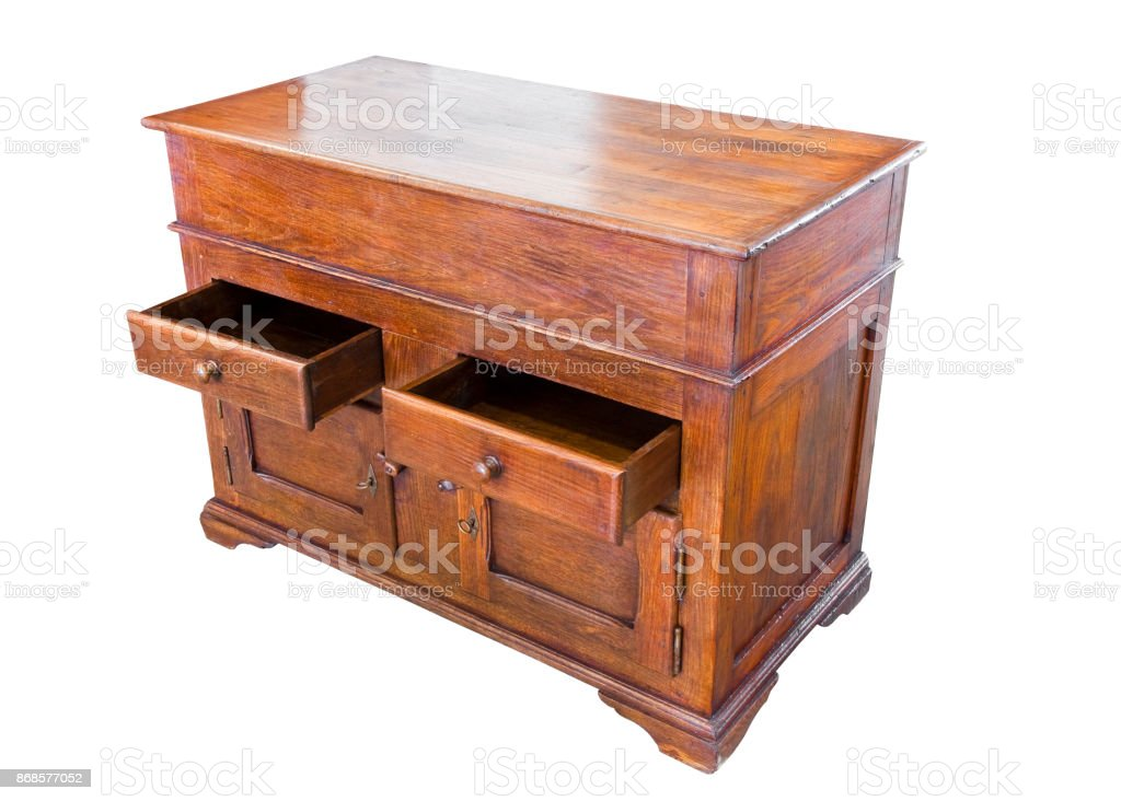 Old italian wooden cupboard just restored on white background for easy selection stock photo