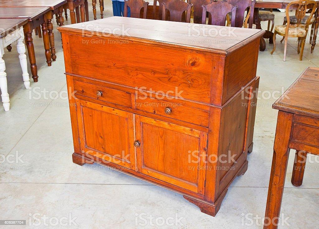 Old italian wooden cupboard stock photo