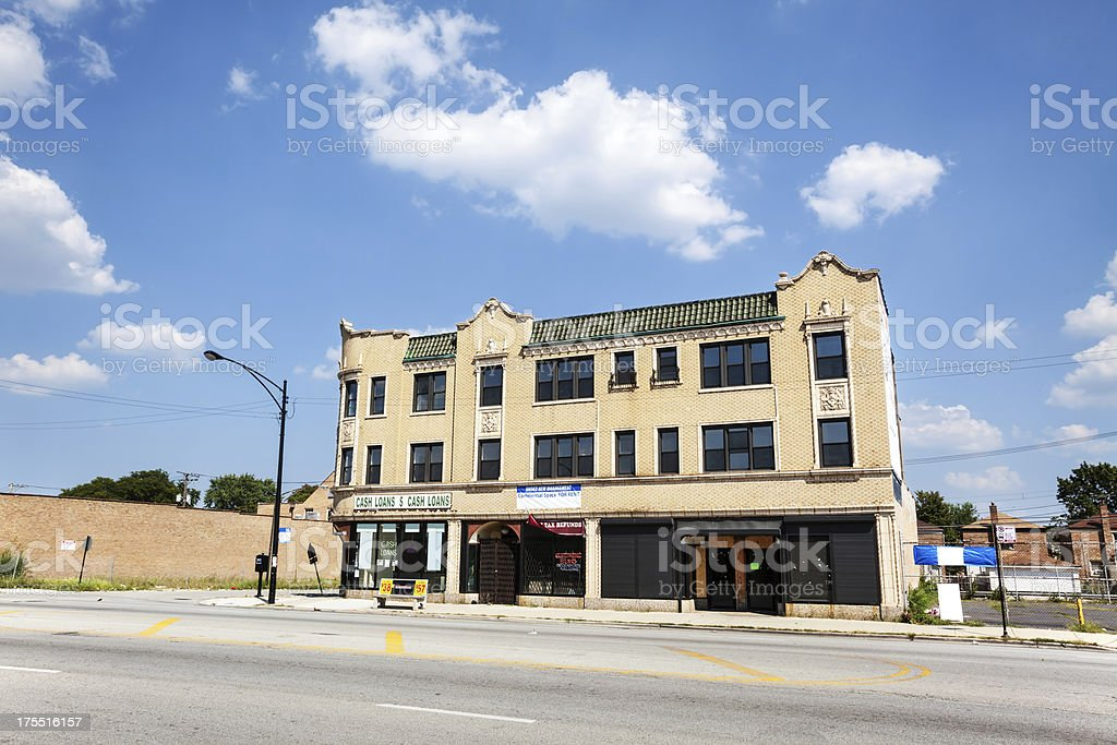 Old Italianate style commercial building, Washington Heights, Ch royalty-free stock photo