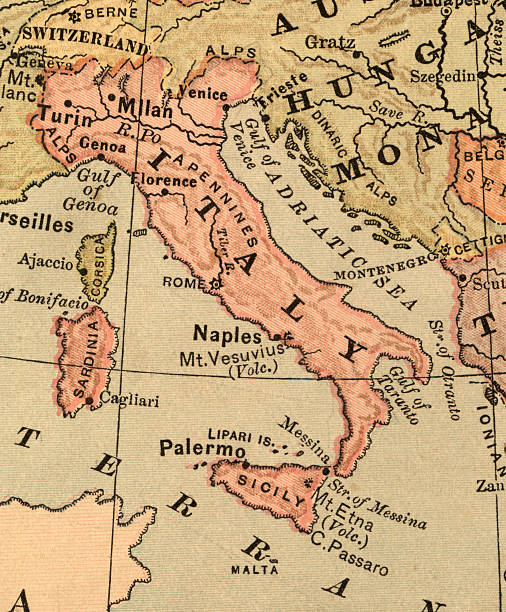 old italy map - italy map stock photos and pictures