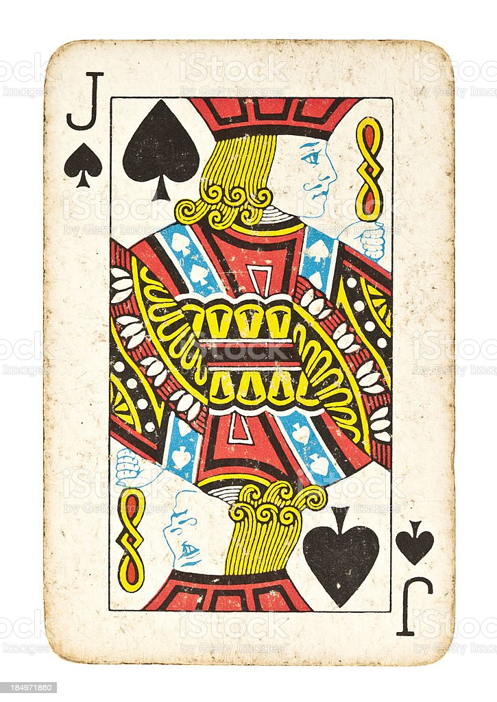 Old Jack of Spades Isolated on White royalty-free stock photo