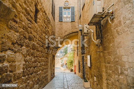 istock Old jaffa street. Culture and history architecture 873902636