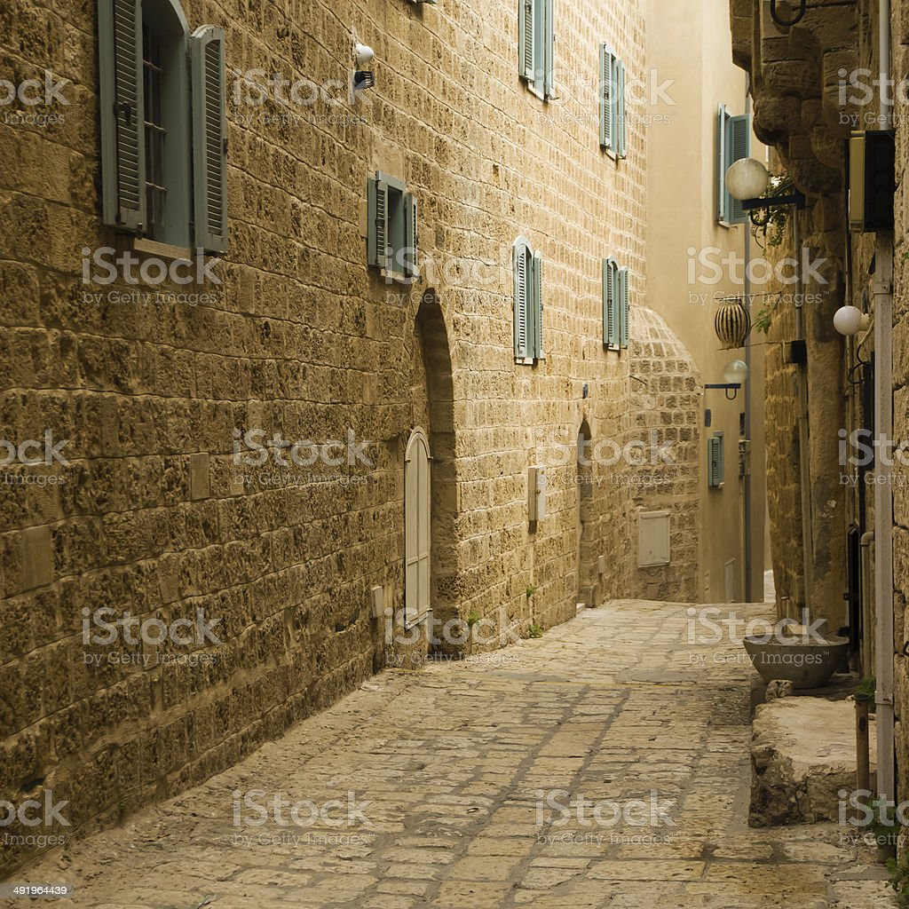 Old Jaffa street, Israel stock photo