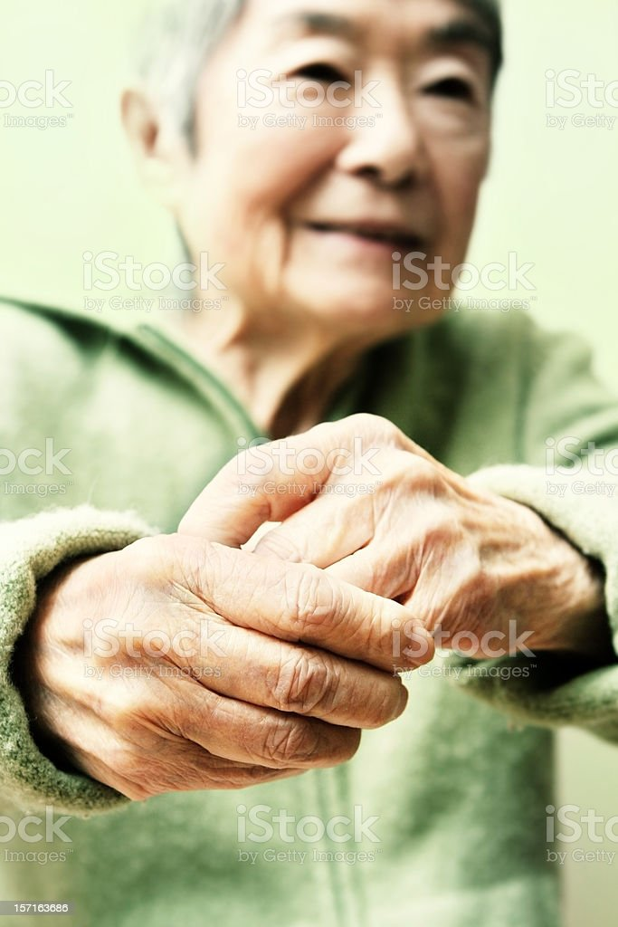 Old Japanese Hands and Woman royalty-free stock photo