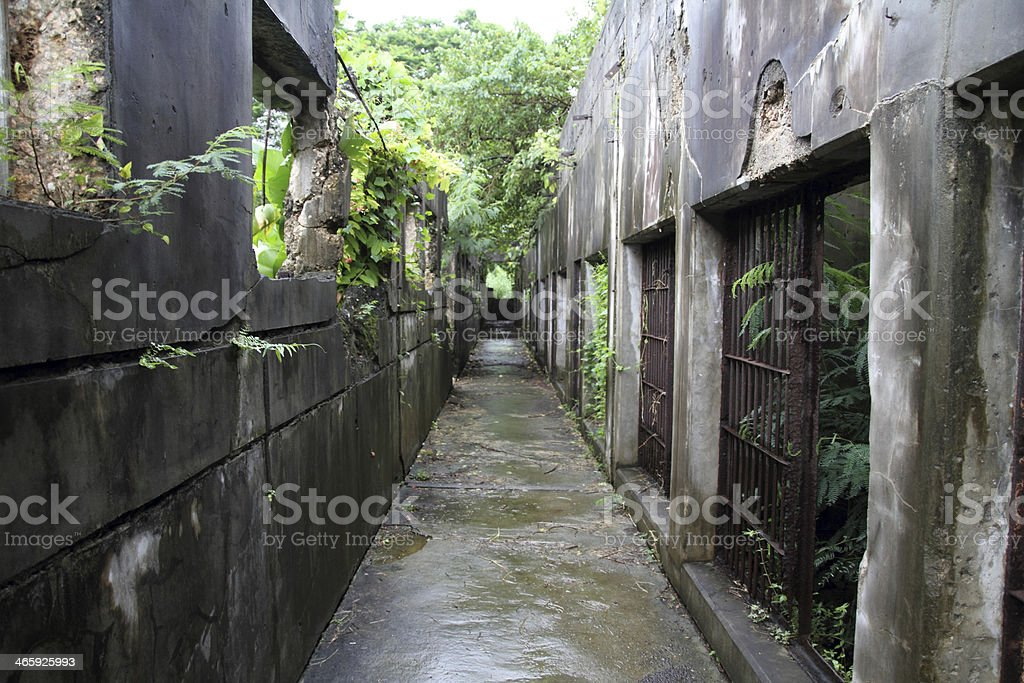 Old Japanese jail in Saipan stock photo