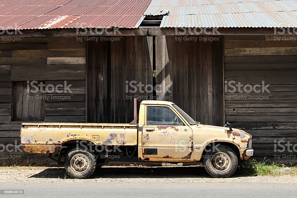 Old Japanese Pickup Truck By Wooden Warehouse Stock Photo & More ...