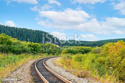Old Japanese  railroad with non-standard width still functioning on Sakhalin island, Russian Far East