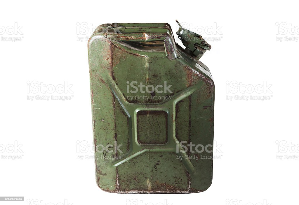 old jerrycan isolated on white background royalty-free stock photo