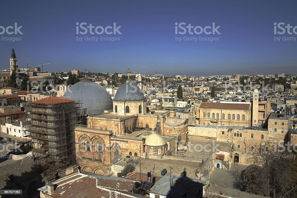 Old Jerusalem & Church of the Holy Sepulture stock photo