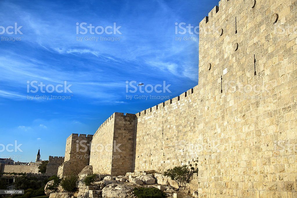 Old Jerusalem City Wall stock photo