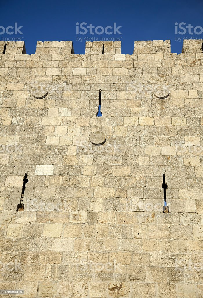 Old Jerusalem City Wall royalty-free stock photo