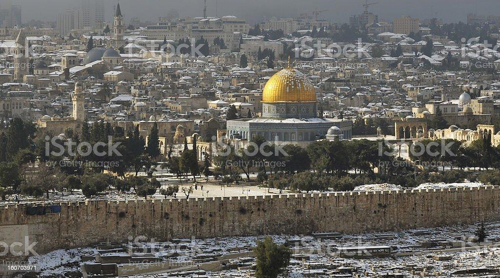 old Jerusalem with rare snow stock photo