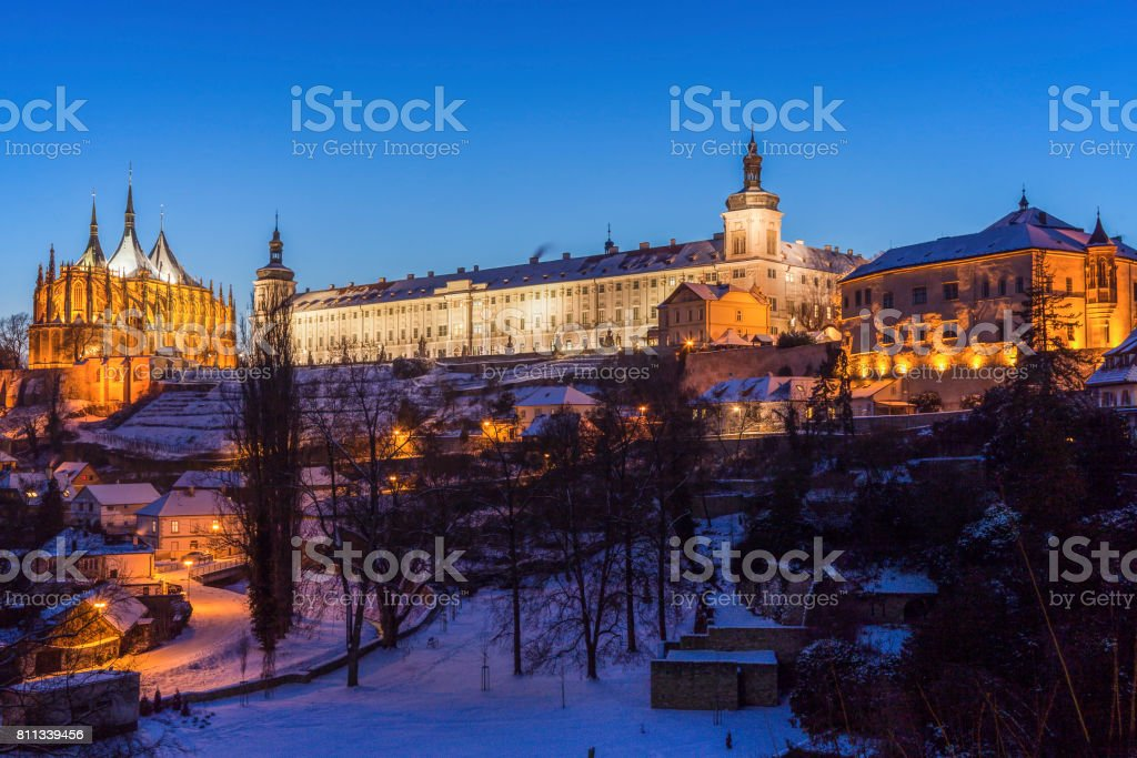 Old Jesuit College and St. Barbara's Church in Kutna Hora stock photo